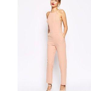 ASOS premium halter blush pink jumpsuit!